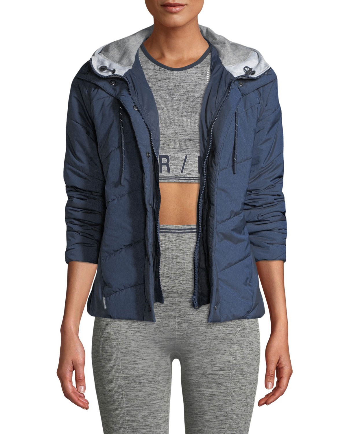 LNDR Toast Quilted Zip-Front Hooded Jacket in Navy