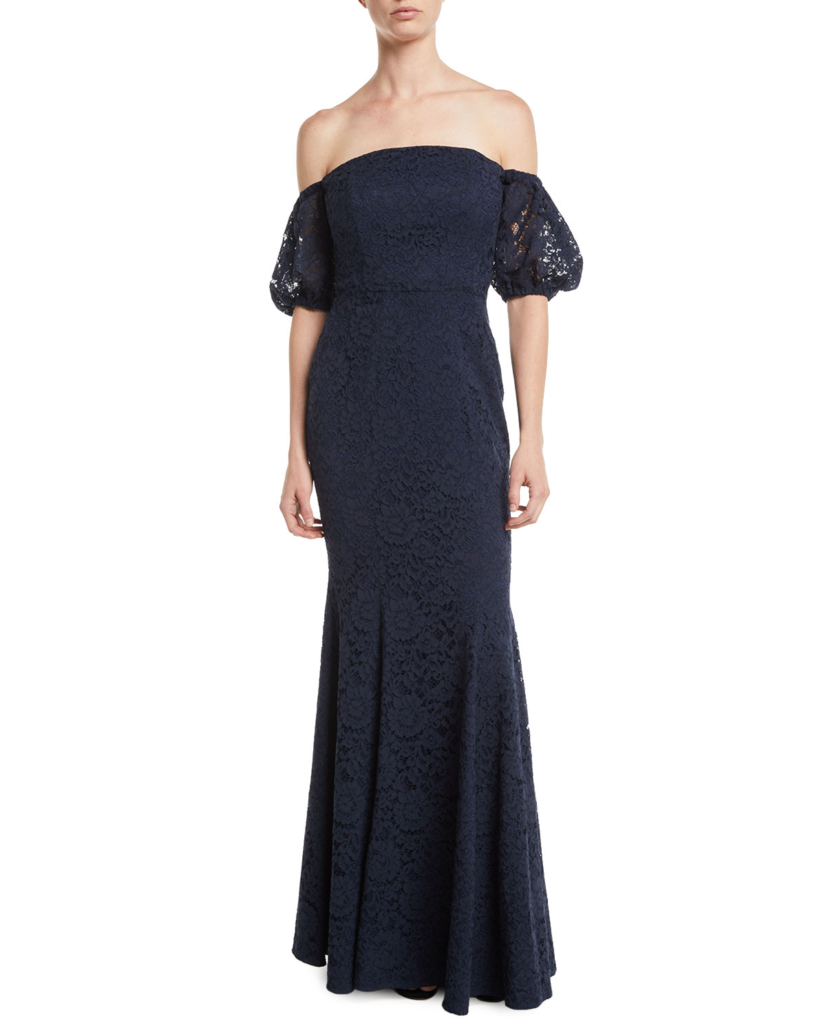 Vivienne Off-the-Shoulder Gown w/ Puff Sleeves