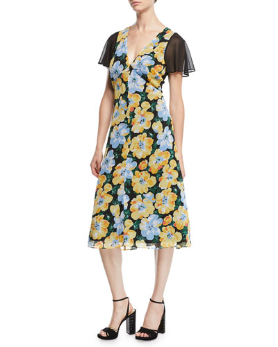 Coran Floral Flutter-Sleeve Cutout Midi Dress