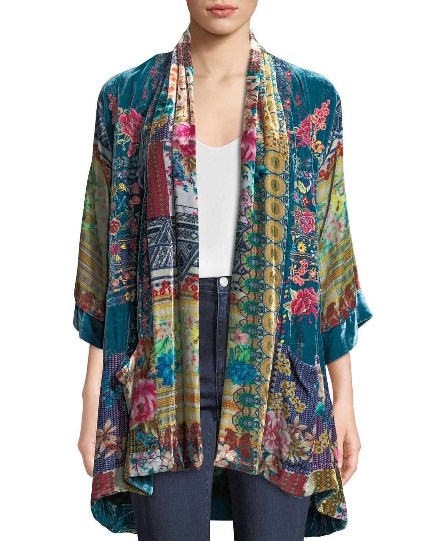 Biza Printed Velvet Kimono Jacket, Plus Size