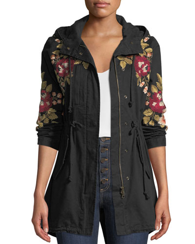 Plus Size Mehdi Hooded Drawstring-Waist Embroidered Coat