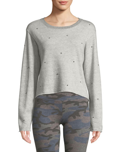 Raw-Edge Embellished Boxy Sweatshirt