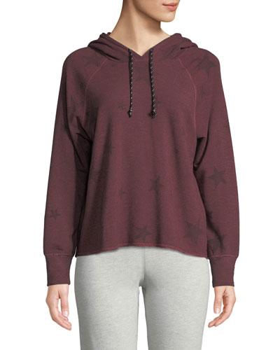 Cropped Star-Print Pullover Hoodie Sweatshirt