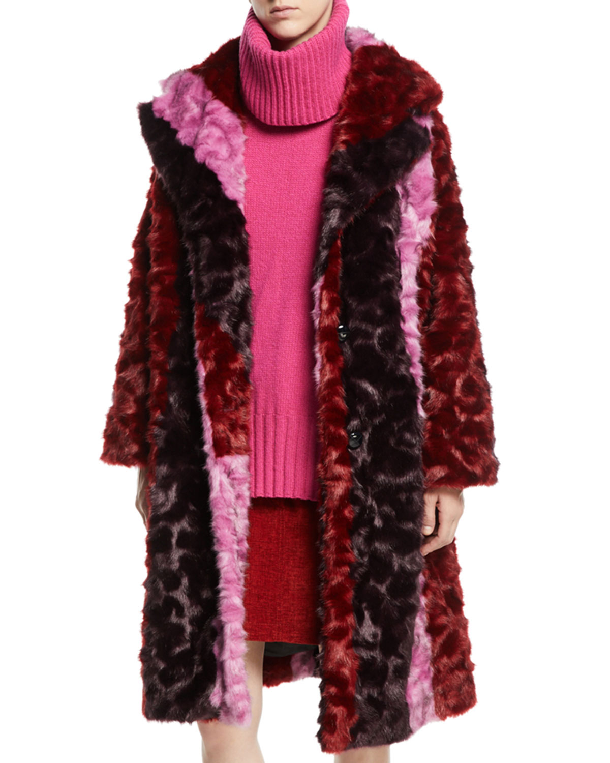 Volume Colorblock Faux-Fur Coat