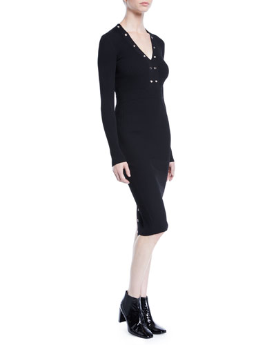 Ribbed Lace-Up Long-Sleeve Dress with Grommet Trim
