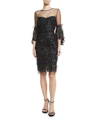 43b02e4af7 Quick Look. Milly · Chrissy Embroidery   Feather Dress. Available in Black