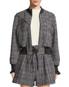 3.1 Phillip Lim Textured Tweed Zip-Front Track Jacket