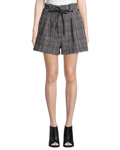 Origami Pleated Textured Tweed Shorts
