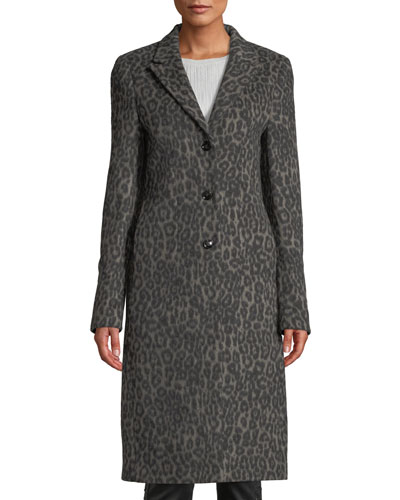 Jamson Leopard-Print Wool Long Coat