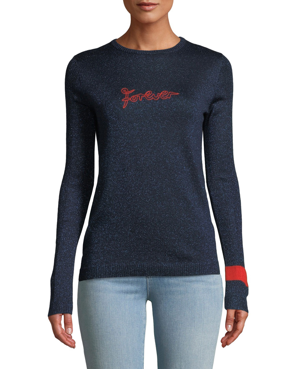 Forever Embroidered Metallic Pullover Sweater