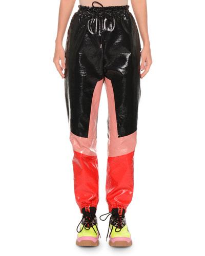 Faux-Leather Colorblock Drawstring Jogger Pants