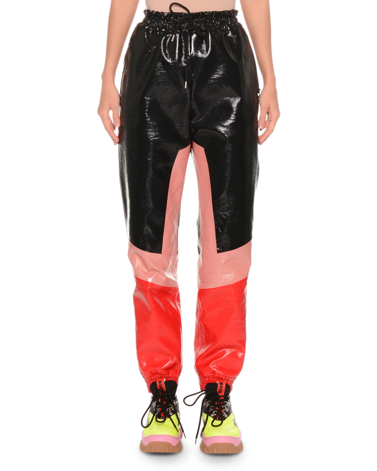 Faux-Leather Colorblock Drawstring Jogger Pants