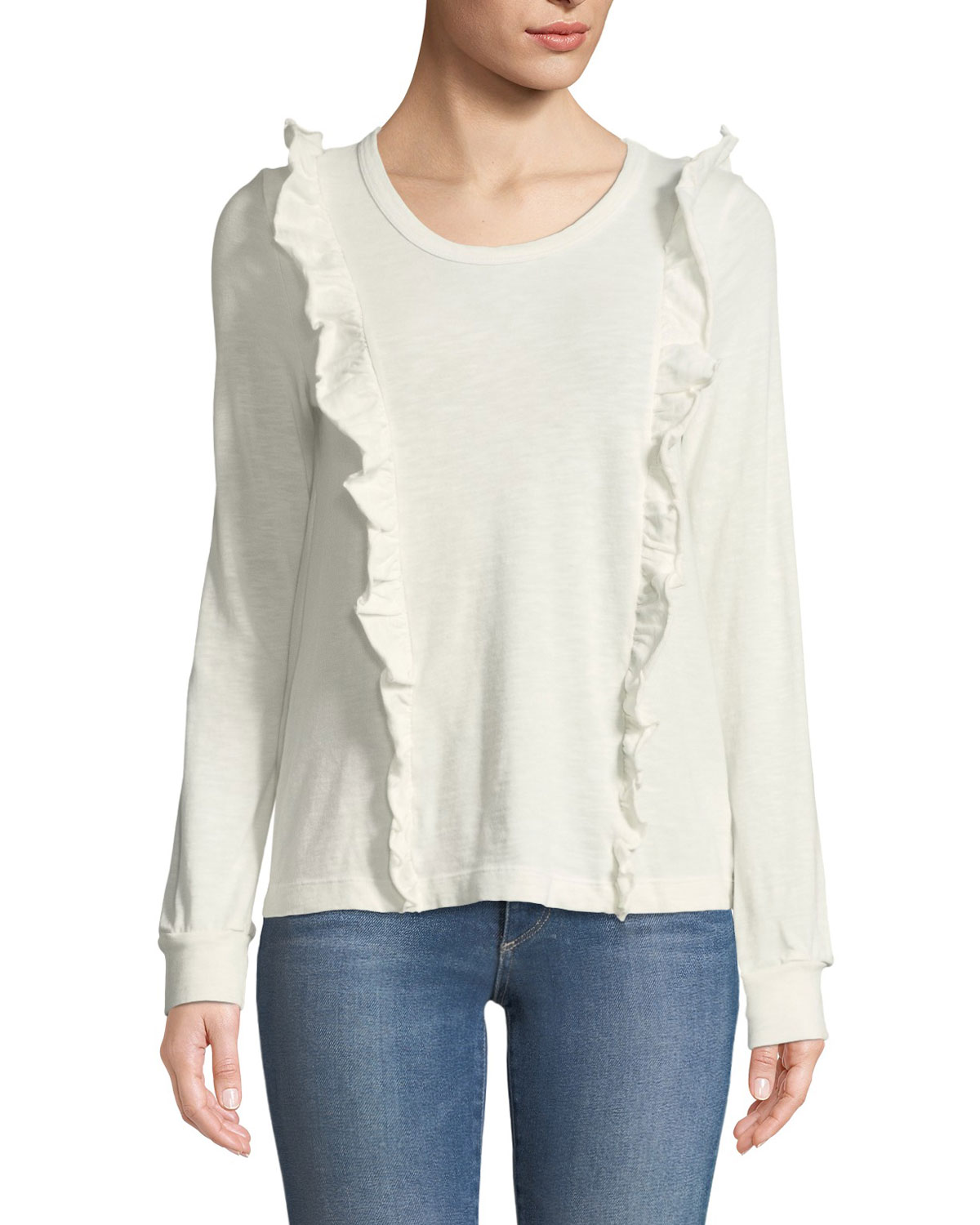 Crewneck Long-Sleeve Top with Ruffle Trim