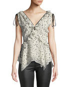 Derek Lam 10 Crosby Sleeveless V-Neck Ruffle Top