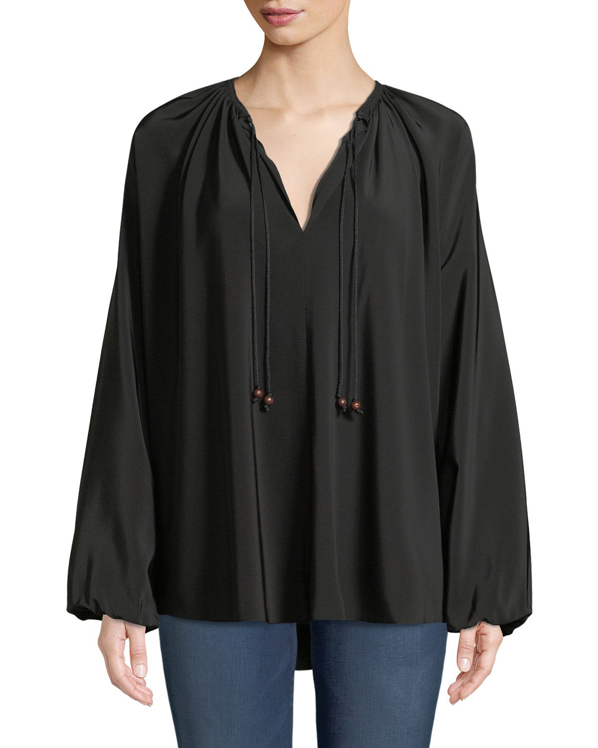 Chance Long-Sleeve Silk Top with Rope Tie Detail