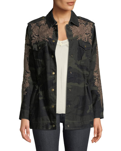 Petite Miloqui Camo-Print Floral-Embroidered Jacket
