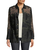 Johnny Was Miloqui Camo-Print Floral-Embroidered Jacket