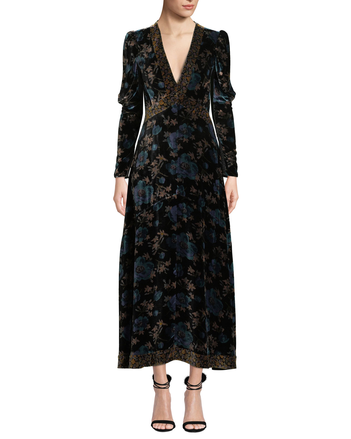 SOLSTICE LONG-SLEEVE VELVET V-NECK MAXI DRESS