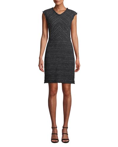 Sleeveless Stretch-Tweed Short Dress