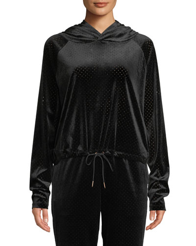 Velour Mesh Pullover Hoodie with Drawstring Hem