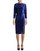 Badgley Mischka Collection Blouson Dress in Ombre Velvet