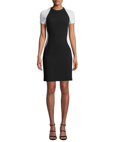 Colorblock Short-Sleeve Cocktail Dress