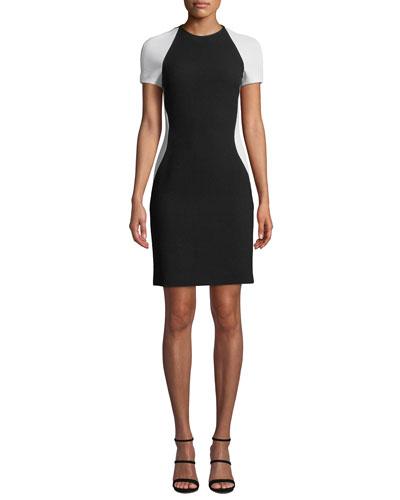 Colorblock Short-Sleeve Cocktail Dress