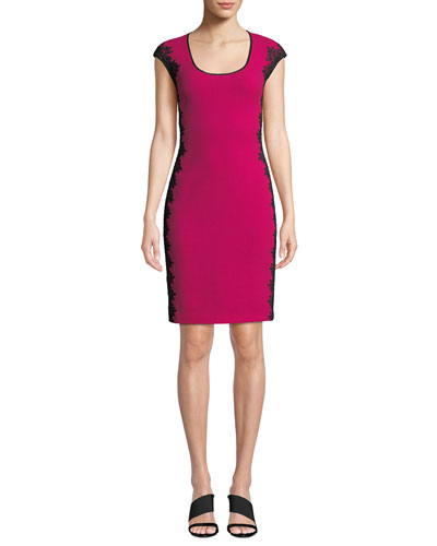 Scoop-Neck Cocktail Dress w/ Lace Sides