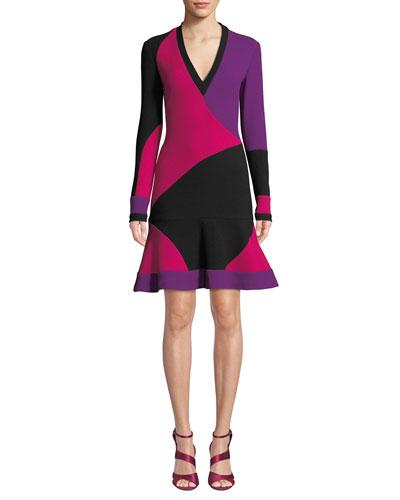 Long-Sleeve Colorblock V-Neck Cocktail Dress