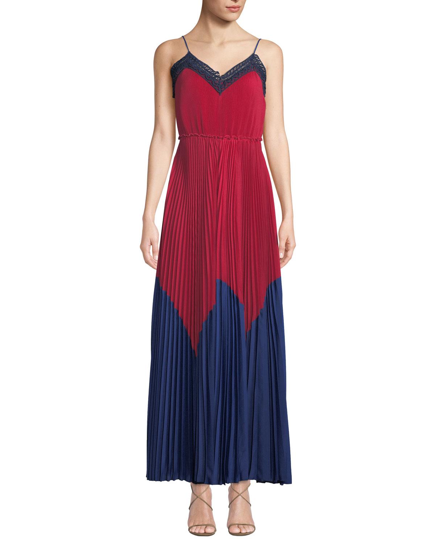 PLEATED CROCHET CHIFFON MAXI TANK DRESS