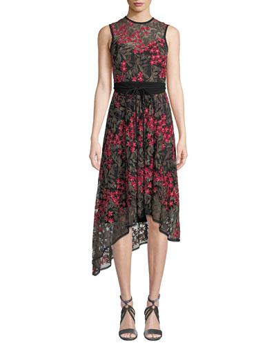 Charmer A-Line Dress w/ Floral Overlay