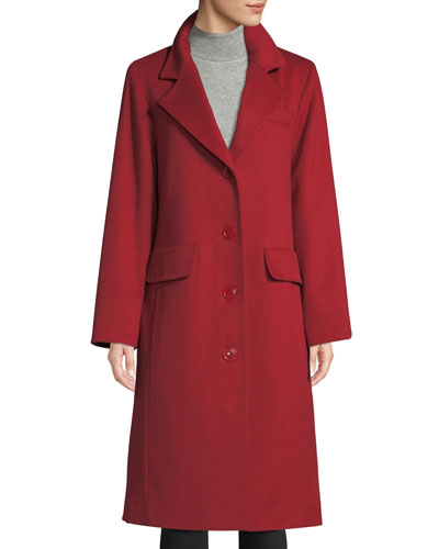 Long Updated Classic Wool-Blend Coat
