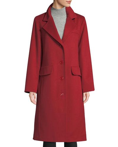 Long Updated Classic Wool-Blend Coat
