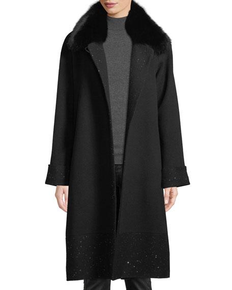 Sofia Cashmere Long Sequin Coat w/ Fur Collar