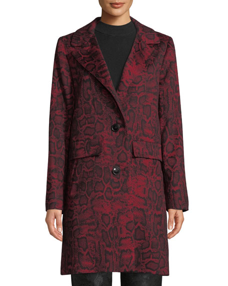 Sofia Cashmere Python-Print Wool-Blend Car Coat