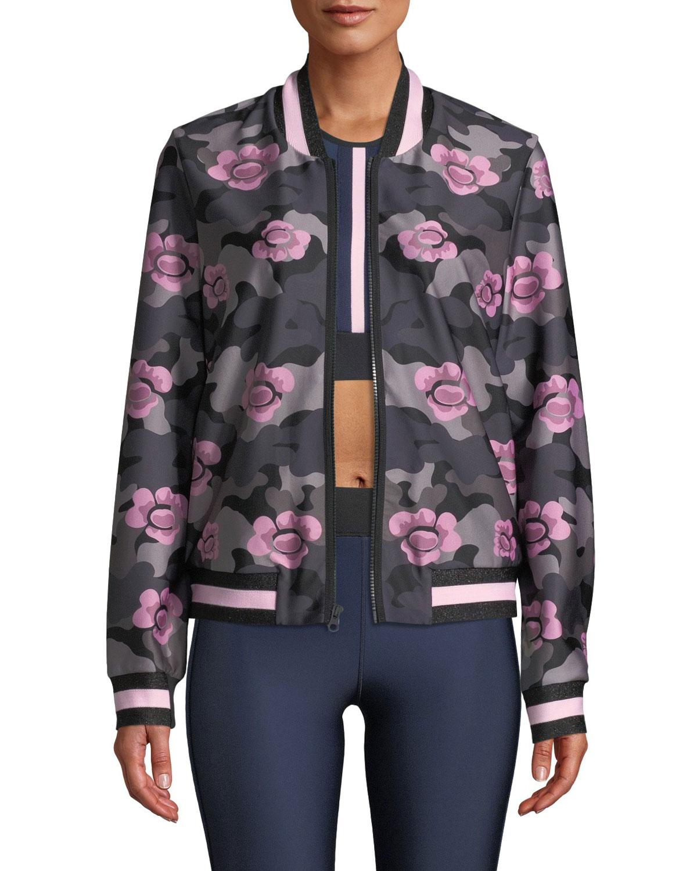Collegiate Floral Zip-Front Bomber Jacket