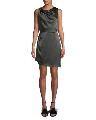 Arielle Cowl-Neck Silk Short Dress