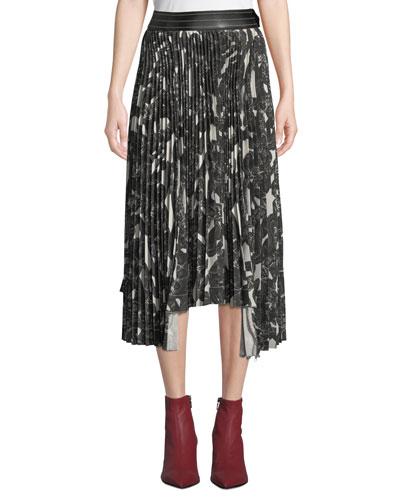 Snake-Print Pleated Asymmetric Midi Skirt