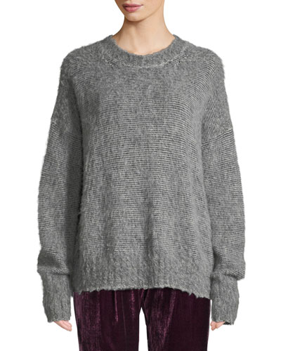 Brushed Wool-Blend Crewneck Sweater