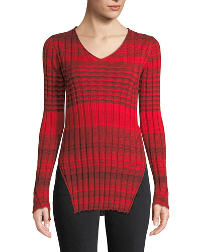 Striped Ribbed Merino Wool V-Neck Sweater