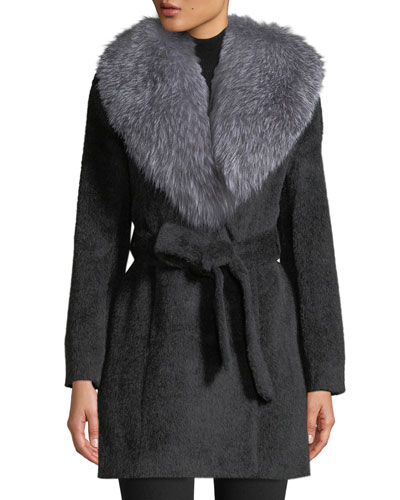 Oversized Fur-Collar Belted Wrap Coat