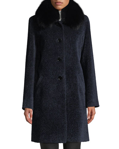 Cocoon Button Coat w/ Fur Collar