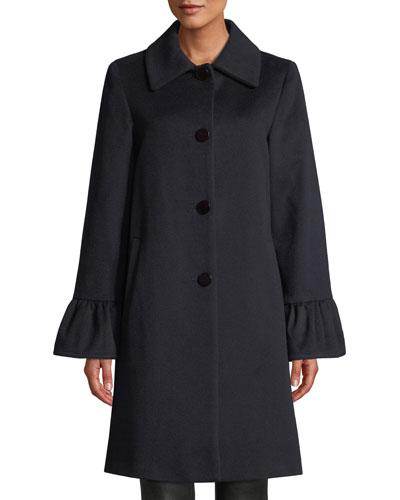 Shirred Bell-Cuff Top Coat