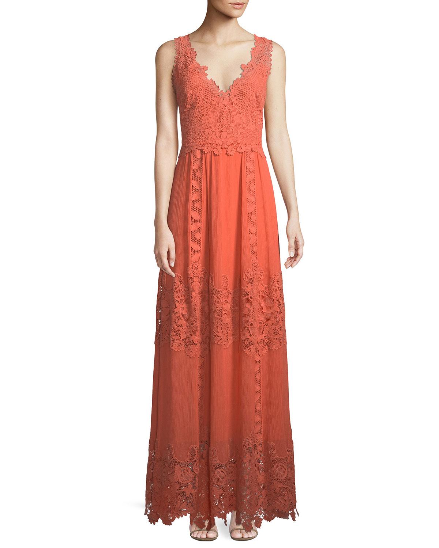 Audra Lace-Trim Silk Maxi Dress