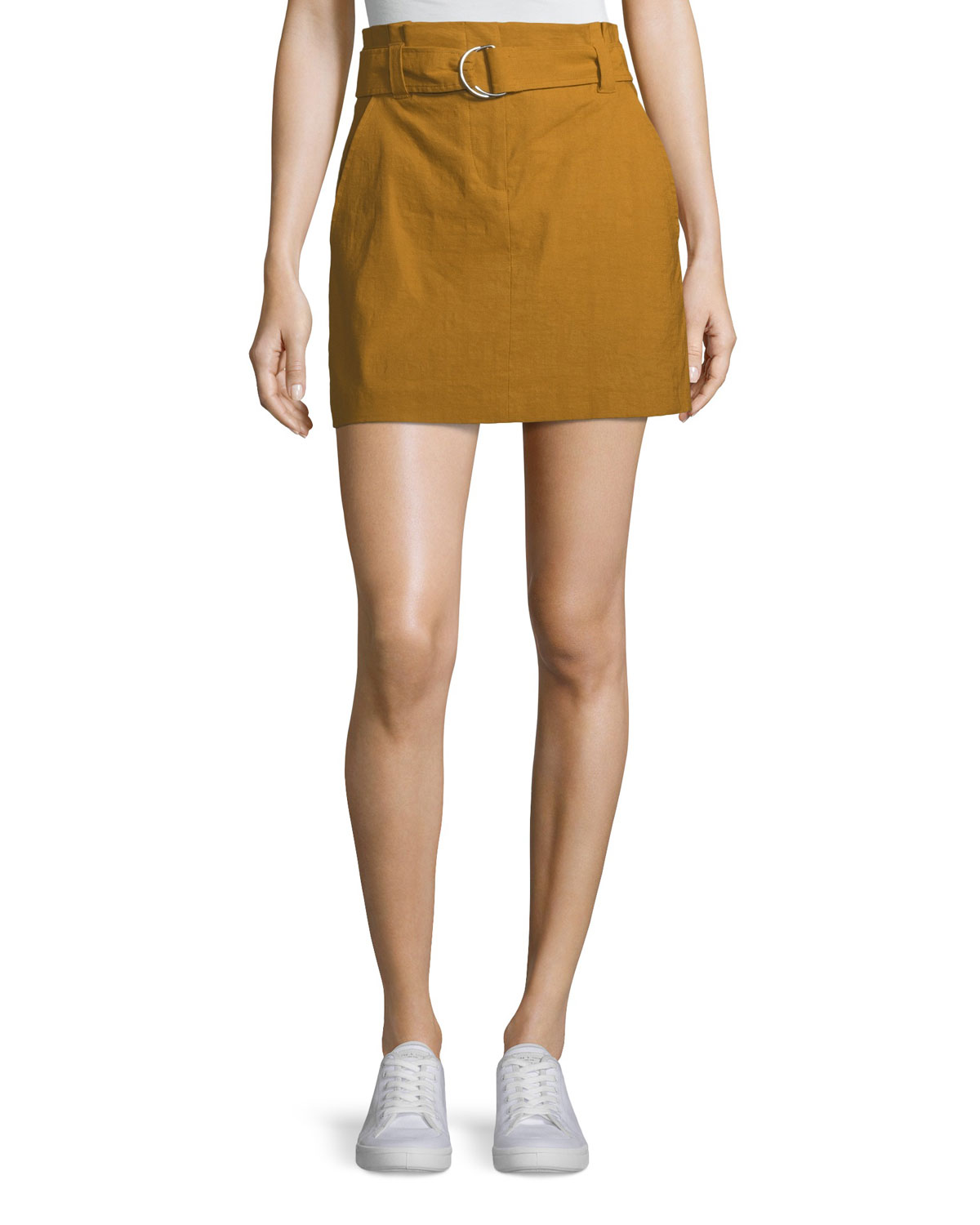 A.l.c  BRYCE BELTED LINEN-STRETCH SKIRT