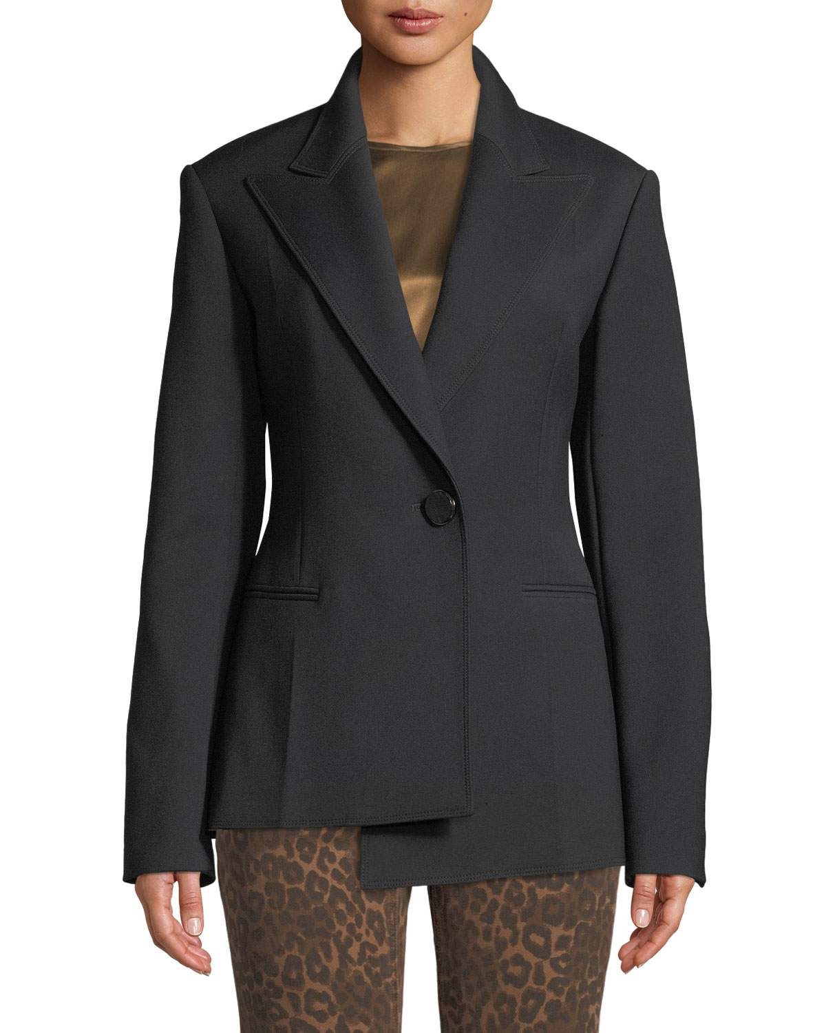 Peak-Lapel Asymmetric Tuxedo Blazer in Black