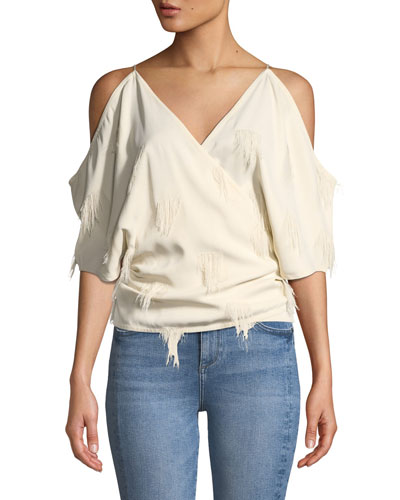aed21bd9f48f26 Quick Look. Helmut Lang · Cold-Shoulder Fringe Wrap Top. Available in White