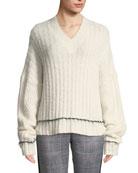 Helmut Lang Brushed Wool-Alpaca V-Neck Sweater
