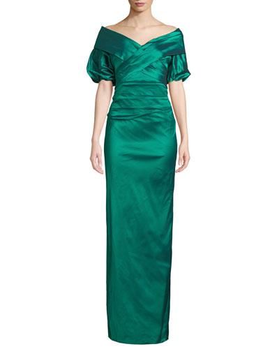 Off-the-Shoulder Taffeta Column Gown