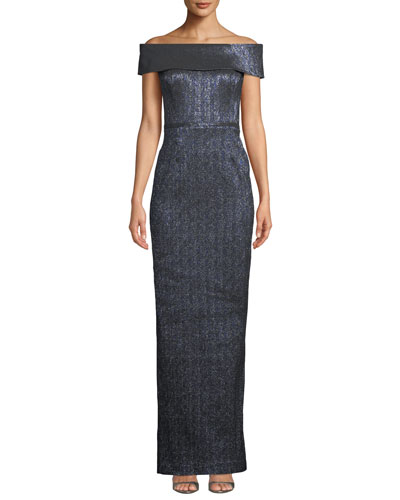 Off-the-Shoulder Metallic Stretch Jacquard Gown